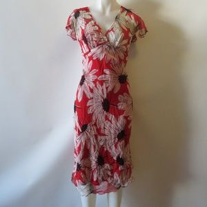 BETSEY JOHNSON RED FLORAL LAYERED MAXI DRESS S